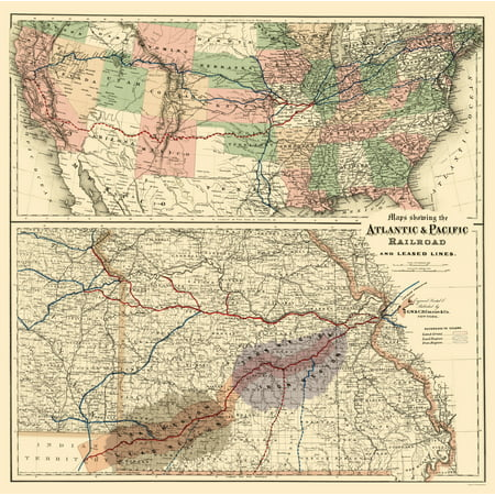 (Old Railroad Map - Atlantic and Pacific Railroad - Colton 1873 - 23 x 23.07)