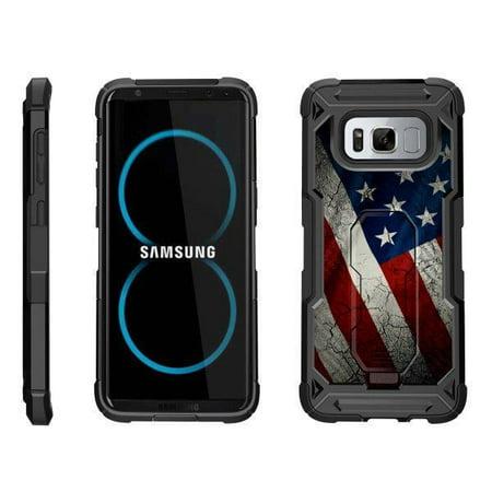 TurtleArmor ®   For Samsung Galaxy S8 G950 [Sleek Side] Advanced Hybrid Holster Belt Clip Kickstand Case - American