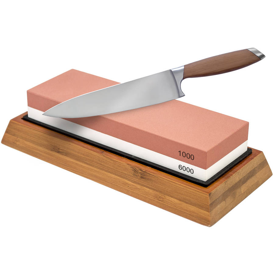 Sorbus Double-Sided Knife Sharpening Stone, 1000/6000 Grit with Non-Slip Bamboo Base