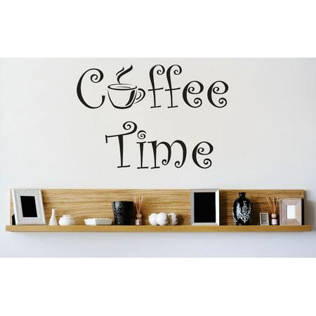 Custom Wall Decal Vinyl Sticker : Coffee Time Kitchen Stylish Decor Picture Art Peel & Stick Mural 12x12