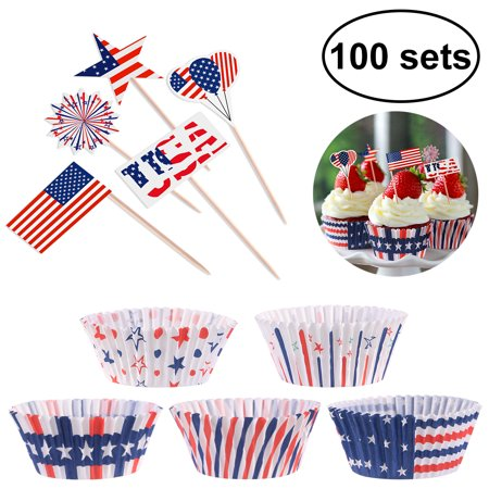 100pcs Indenpendence Day Cupcake Liners with 100pcs Patriotic Cupcake Topper Picks for 4th of July Cake Decoration](July 4th Decorations)