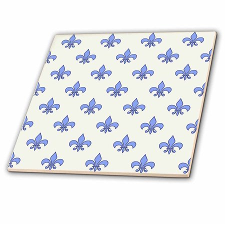 3dRose Blue Fleur de lis on a cream background Christian symbol - Ceramic Tile, (Fleur De Lis Ceramic Tile)