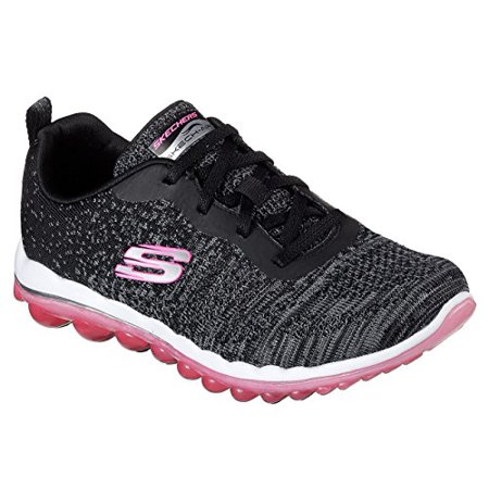 Skechers Skech Air 2.0 discoveries Women's Fashion Sneakers, Black Knit/Hot Pink, 6.5 US