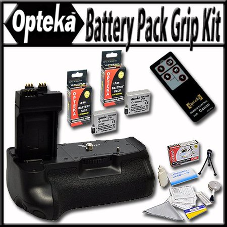 Opteka Battery Pack Grip / Vertical Shutter Release for Canon EOS Rebel T2i T3i T4i T5i DSLR Digital Camera with 2 LP-E8 Extended Life High Capacity Batteries Wireless Infrared Remote and Cleaning Kit