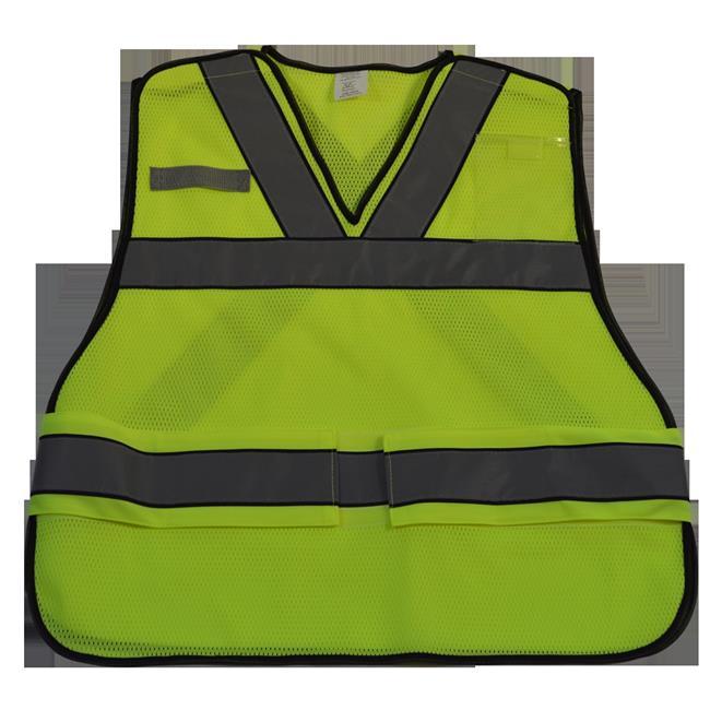ANSI V-Neck Lime Mesh Public Safety Vest X on Back, Regular Small & Extra Large