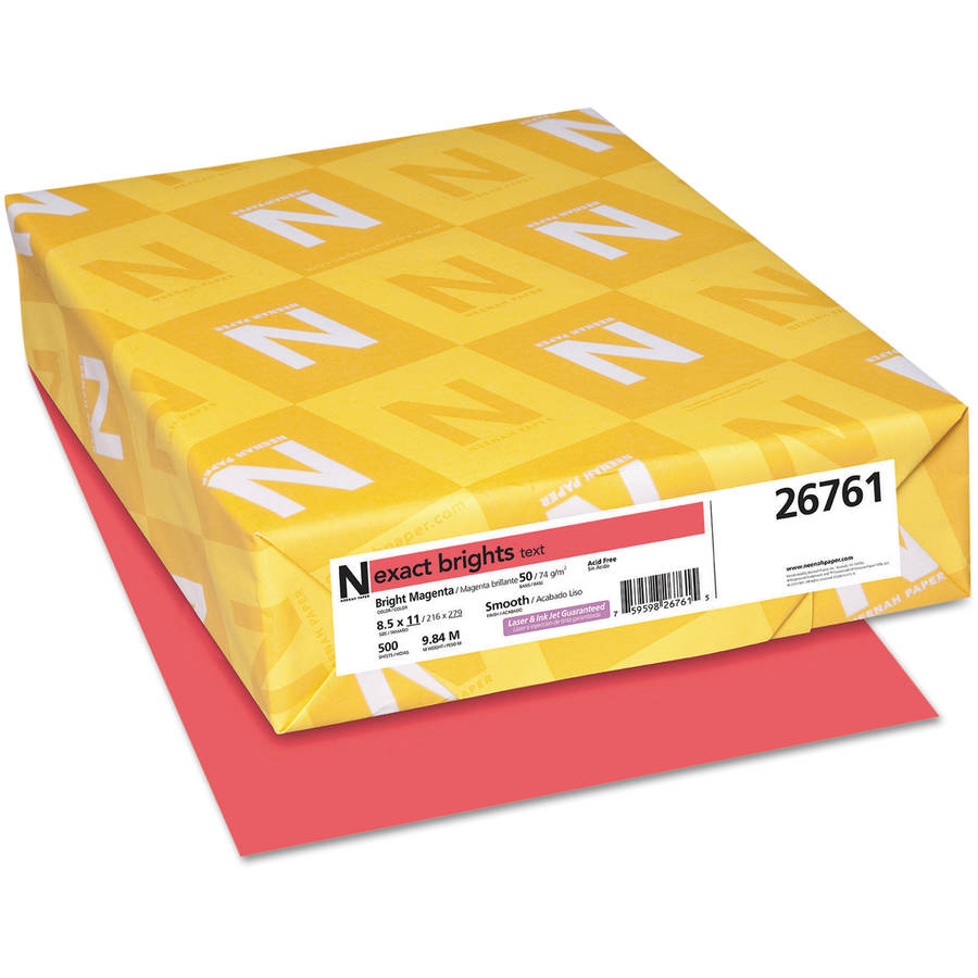 "Neenah Paper Exact Brights Paper, 8-1/2"" x 11"", Bright Magenta, 50-Pound, 500 Sheets/Ream"