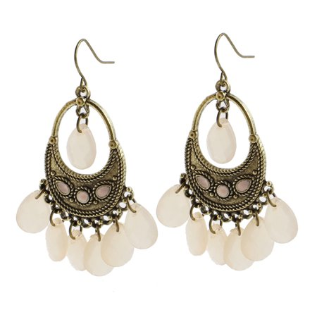 Faceted Glass Bead Earrings (Unique Bargains Pair Girls Bronze Tone Faceted Beads Ornament Earbob Fish Hook Earrings )