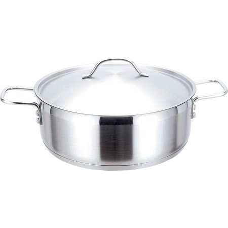 Josef Strauss Pro 23.5 Quart Low Casserole   With Stainless Steel Lid, Works with Induction Cooktops, Oven and Dishwasher Safe, 18/10 Stainless Steel -