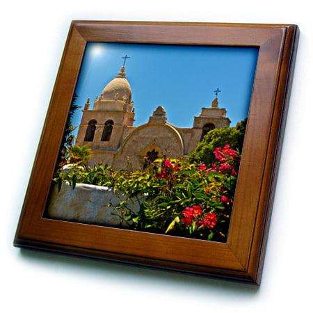 - 3dRose Carmel Mission, Carmel, California, USA - Framed Tile, 6 by 6-inch