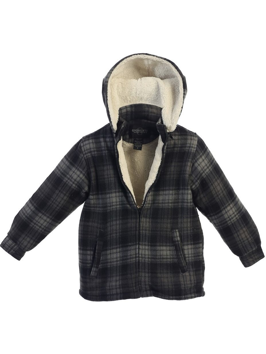Gioberti Little Boys Grey Plaid Sherpa Lined Detachable Hood Flannel Jacket 2T-7