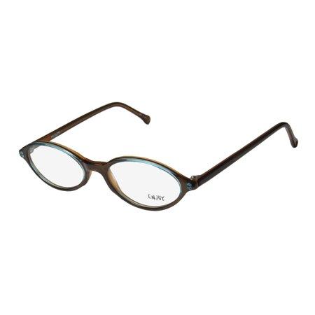 Acetate Temples Frame - New Enjoy By Rodenstock 2701 Womens/Ladies Designer Full-Rim Taupe / Teal Plastic Temples Hip Frame Demo Lenses 49-17-140 Eyeglasses/Eyewear