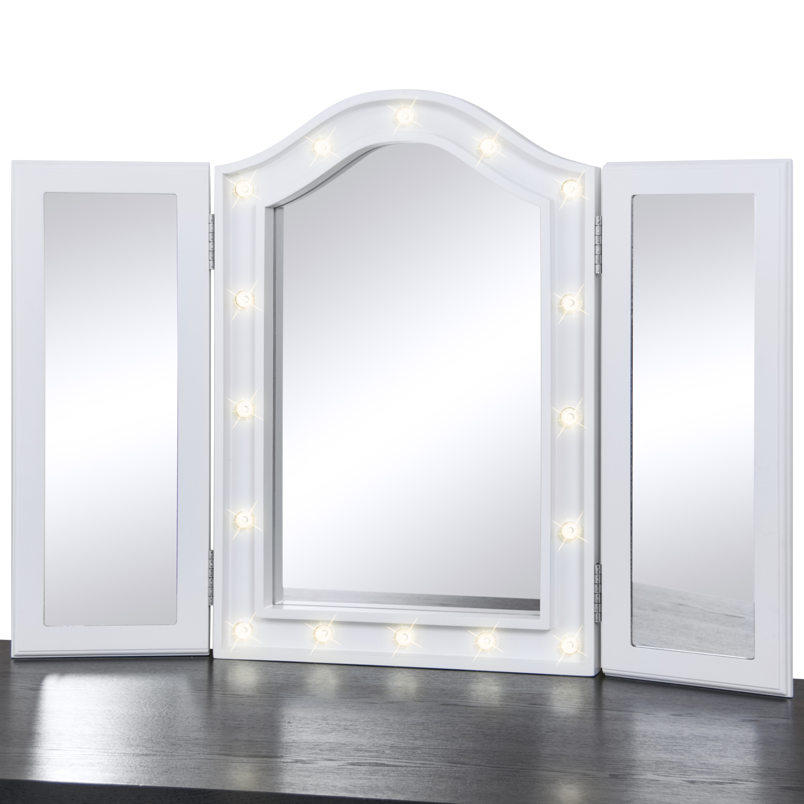 Superb Best Choice Products Lit Tabletop Tri Fold Vanity Mirror W/ LED Lights  (White