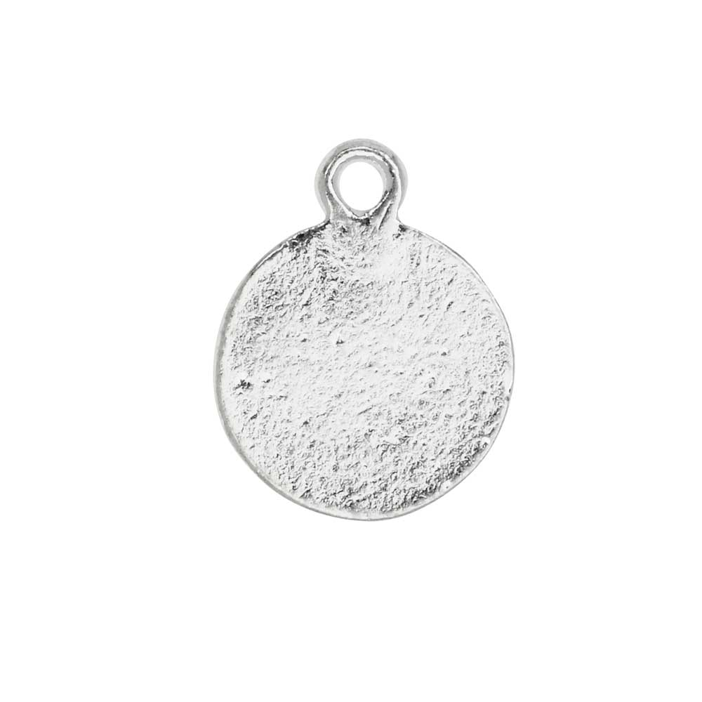 by Nunn Design 2 Pieces Faceted Circle 6mm Bright Silver Metal Charm