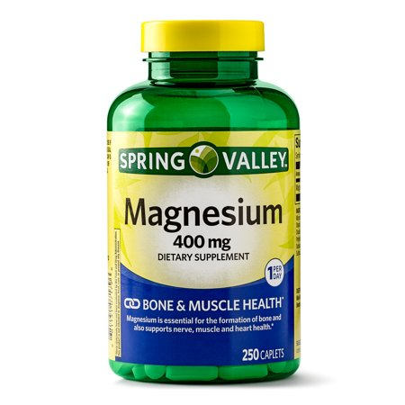 (2 Pack) Spring Valley Magnesium Caplets, 400 mg, 250 Ct