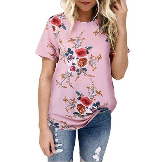 618b29d7722 DYMADE - DYMADE Women's Short Sleeve Floral Printed T-Shirt Summer Casual Tops  Blouse - Walmart.com