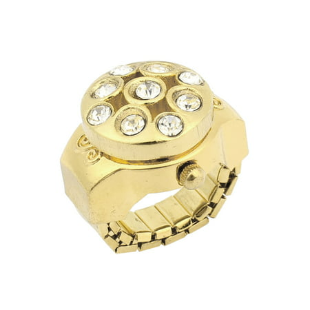 Unique Bargains Rounded Dial Glitter Crystal Decoration Elastic Band Finger Ring Watch Gold Tone (Witch Rings)