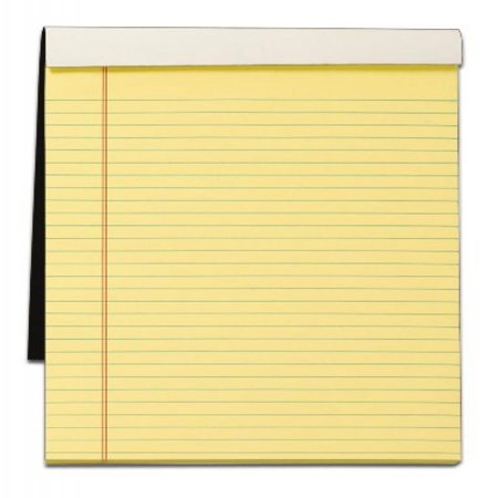 TOPS Docket Gold Writing Tablet with Privacy Cover, 8-1/2 x 11-3/4 Inches, Perforated, Canary, Legal/Wide Rule, 70 Sheets per Pad (99714)