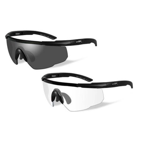 Wiley X Saber Advanced Sunglasses - Smoke Grey/Clear Lens - 2 Matte Black Frames w/Rx Insert (Wiley X Saber Advanced Sonnenbrille)