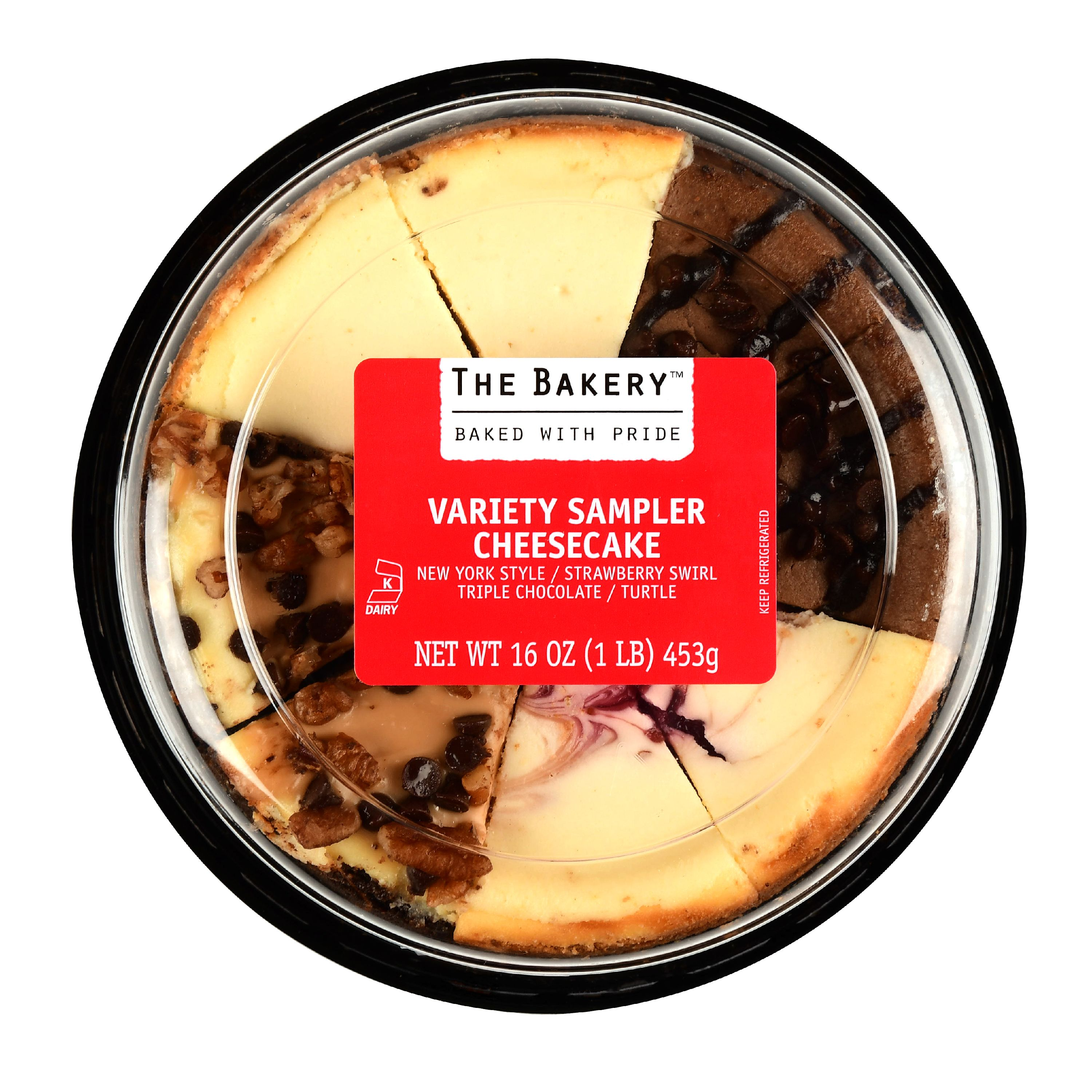 The Bakery Variety Sampler Cheesecake, Strawberry Swirl/Turtle/Triple Chocolate/New York Style, 16 oz, 8 Count