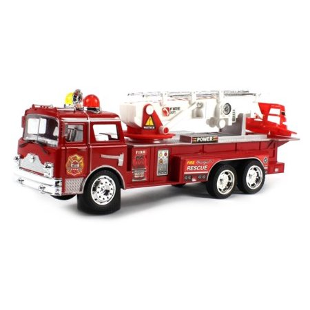 Power Fire Dept. Rescue Battery Operated Bump and Go Toy Fire Truck w/ Sounds, 360° Rotating Extending Crane
