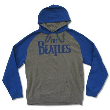Adult The Beatles Classic Logo Raglan Grey & Blue Pullove Hoodie Sweatshirt (2X-Large) Blue Classic Logo Hoody Sweatshirt