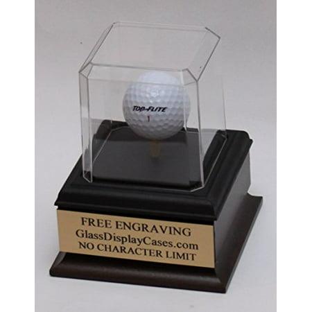 Golf Ball Personalized Hole in One - Eagle - Best Round - Game Acrylic Display Case - Beveled Edges - Cherry Finish Wood Platform Base & Custom