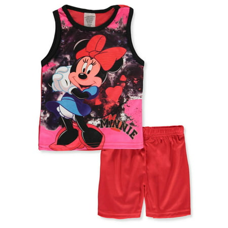 Disney Minnie Mouse Girls' 2-Piece Shorts Set Outfit - Kids Minnie Mouse Outfit