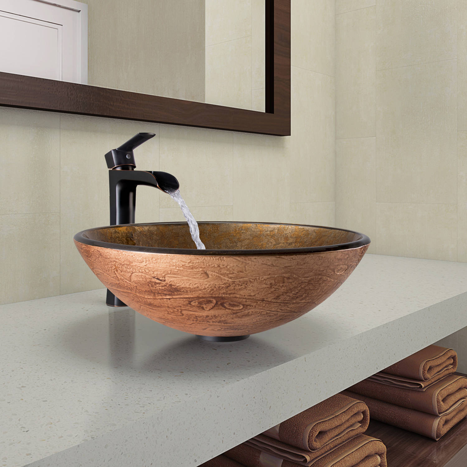 Vigo Cappuccino Swirl Glass Vessel Bathroom Sink and Niko Faucet Set in Antique Rubbed Bronze Finish