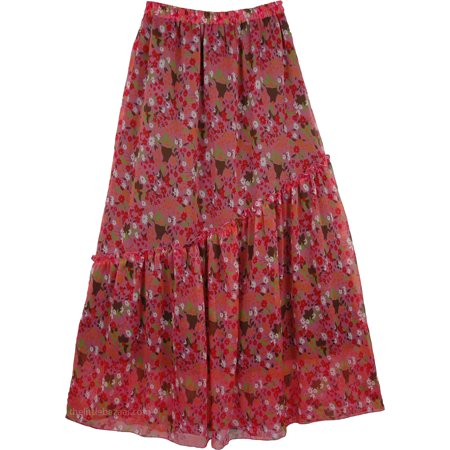 Apple Blossom Printed Chiffon Skirt