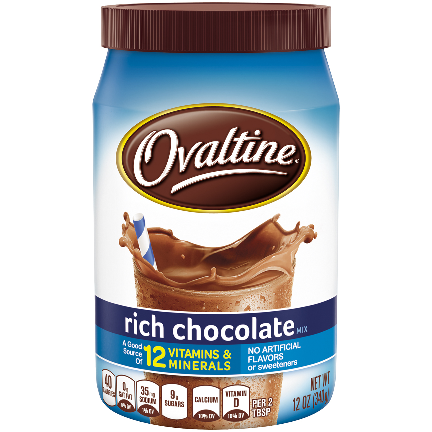 (2 Pack) OVALTINE Rich Chocolate Flavored Milk Mix 12 oz. Canister
