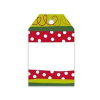 "4 Unit Christmas Stripe Printed Gift Tags 2-1/4x3-1/2"" Unit pack 50"