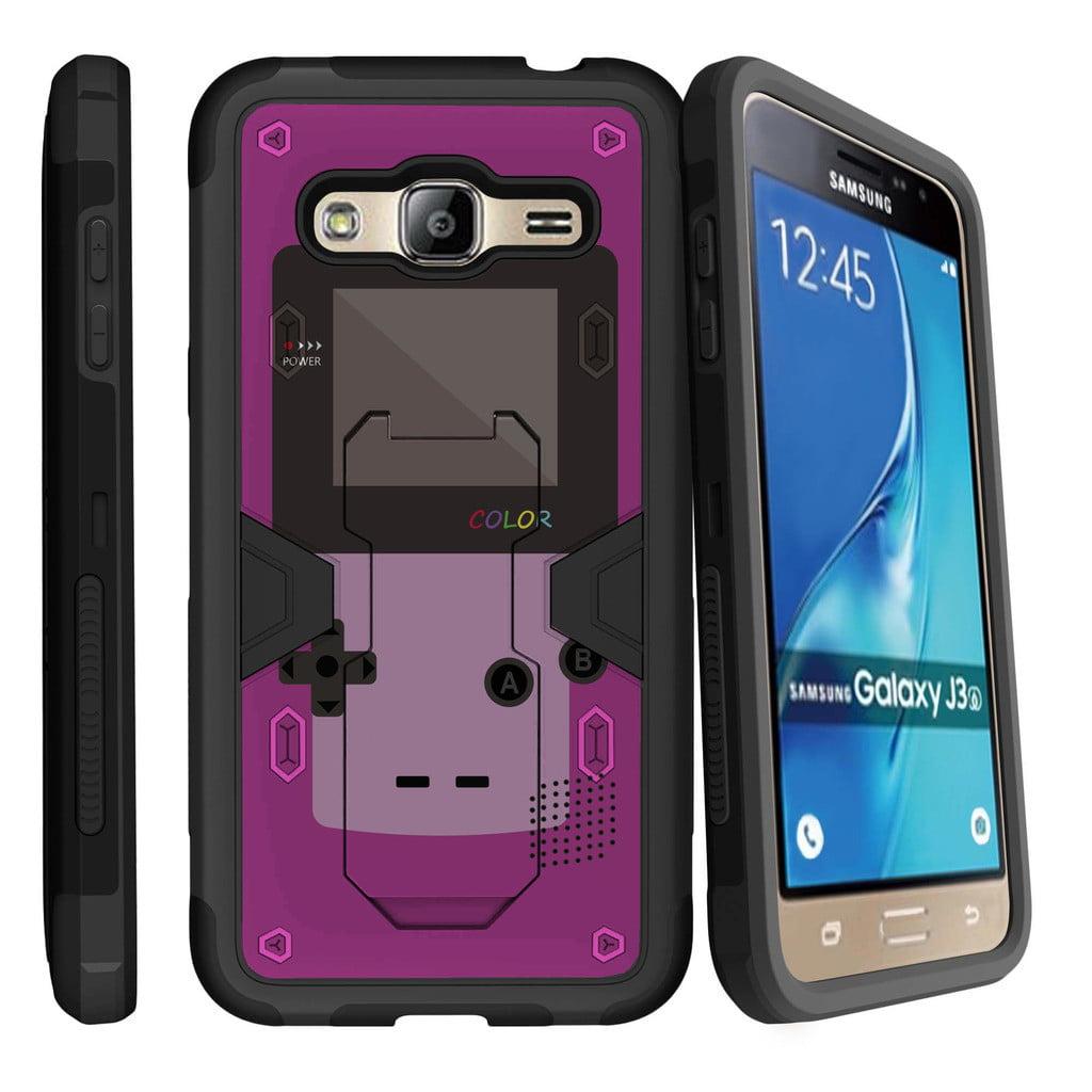 Samsung Galaxy J3, Galaxy Sky Dual Layer Shock Resistant MAX DEFENSE Heavy Duty Case with Built In Kickstand - Purple Gameboy Color
