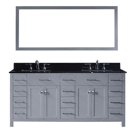 Virtu Md 2172 Bgsq Gr 002 Caroline Parkway 72 Inch Double Bathroom Vanity Set In Grey