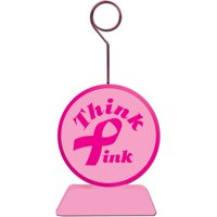 Pink Ribbon Photo/Balloon Holder Party Accessory (1 count), One balloon weight. By Beistle
