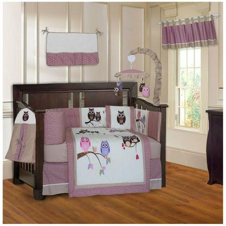 Babyfad Owl Pink 10 Piece Crib Bedding Set Walmart Canada