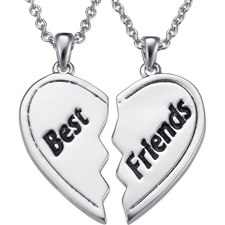 Personalized Rhodium-Tone Best Friends Shareable Heart Pendant Set
