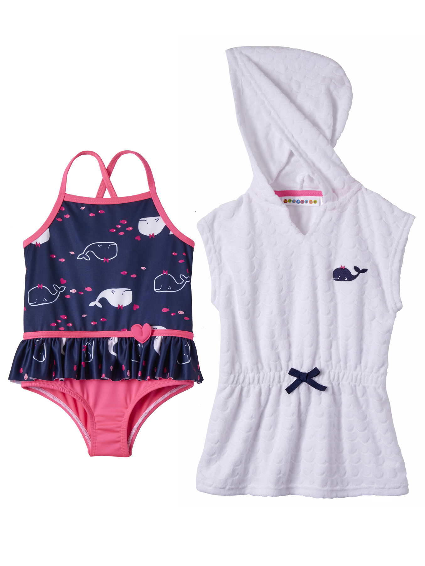 Whale Swimsuit & Coverup (Baby Girls & Toddler Girls)