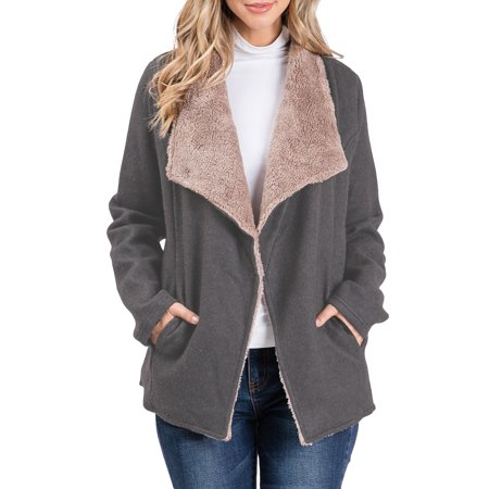 Doublju Women's Sherpa Fur Lined French Terry Jacket with Pocket (Plus Size Available) Short Sleeve Terry Jacket