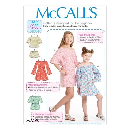McCall's Sewing Pattern Children's/Girls' Off-the-Shoulder Top, Dress and Romper wit-7-8-10-12-14 ()