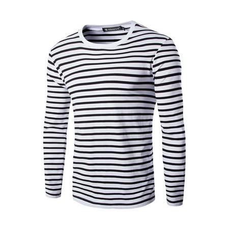 f05920013b6d Unique Bargains - Men's Long Sleeves Crew Neck Striped T-shirt - Walmart.com