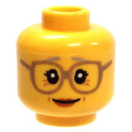 Yellow Female with Crows Feet & Big Glasses Minifigure Head