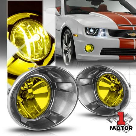 Golden Yellow Lens Fog Light OE Bumper Lamps w/Bezel for 10-13 Chevy Camaro Pair 11 12 Camaro Park Lamp Lens