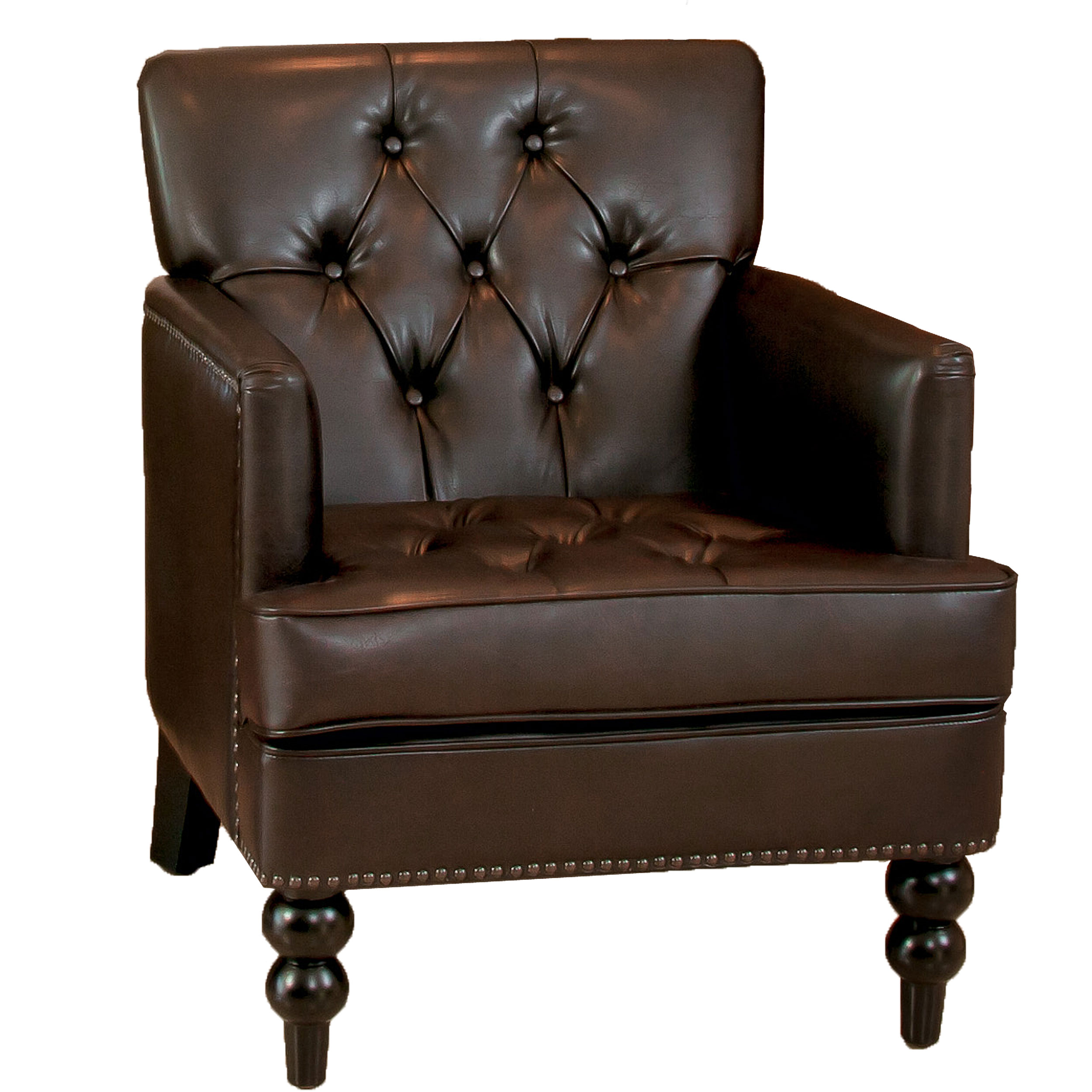 Denise Austin Home Randi Brown Bonded Leather Club Chair by GDF Studio