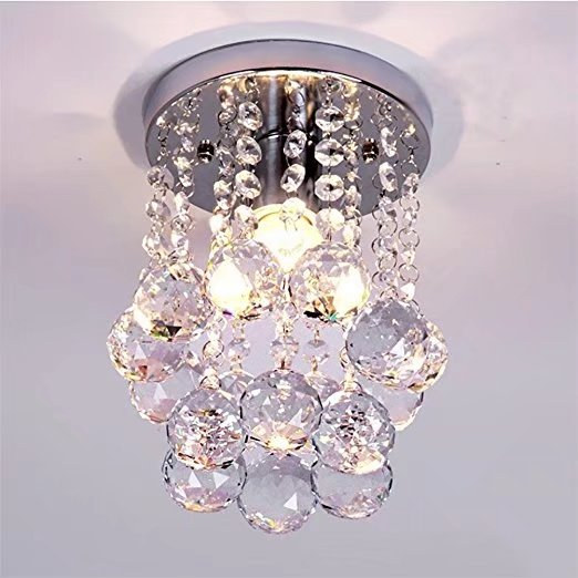 Mini Modern Crystal Chandeliers 6inch Flush Mount Rain Drop Pendant Ceiling Light for... by Goeco