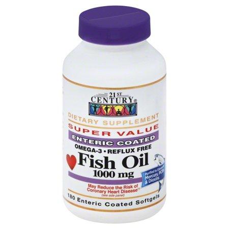 - 21st Century Heart Health Fish Oil 1000mg - Omega-3 Enteric Coated Softgels, 180 ea