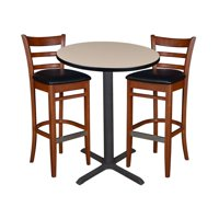 """36"""" Round Caf Table- Grey & 2 Zoe Caf St"""