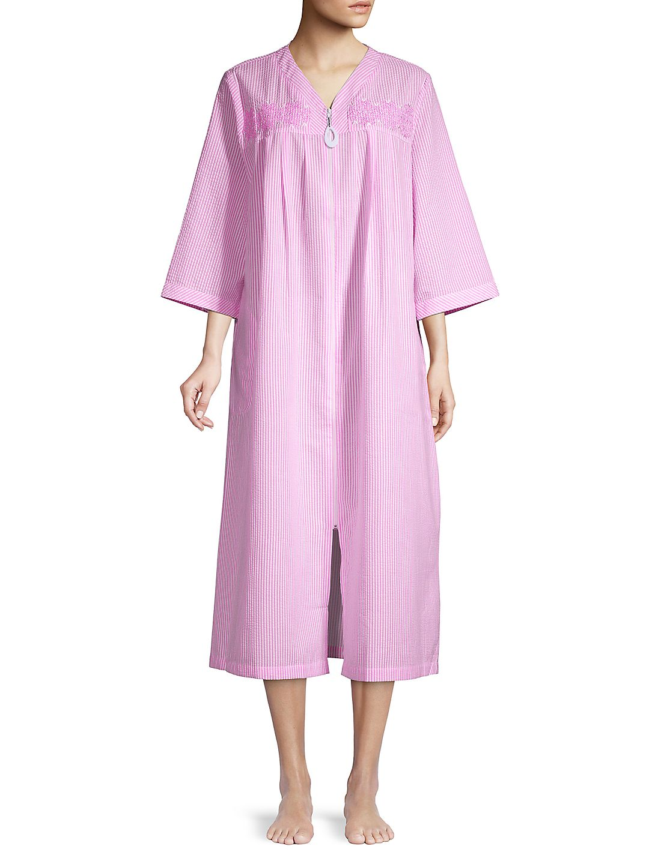 Pinstriped Full-Zip Nightgown