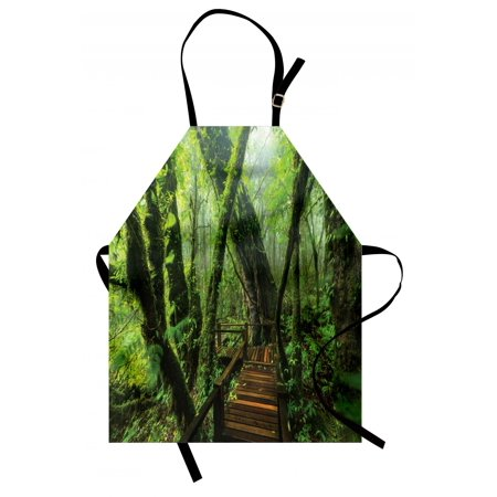 Forest Apron Entrance to Deep Dark Evergreen Jungle Magical Surreal Extreme Vivid Plants Jungle, Unisex Kitchen Bib Apron with Adjustable Neck for Cooking Baking Gardening, Green Brown, by - Magical Jungle