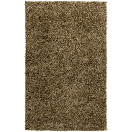 5' x 8' Shag Style Olive and Gray Hand Woven Area Throw Rug Olive Shag Rug