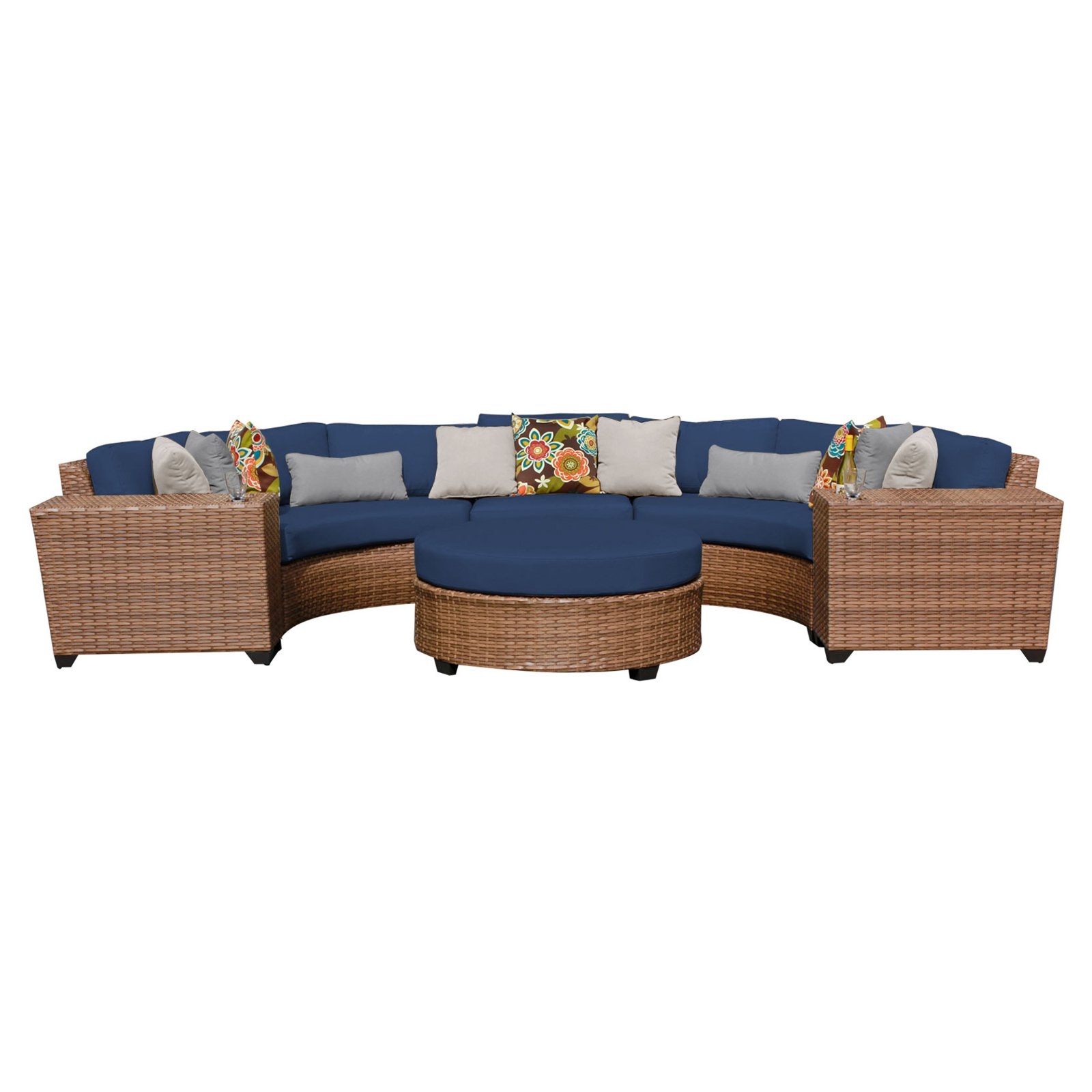 TK Classics Laguna Wicker 6 Piece Patio Conversation Set with Round Coffee Table and 2 Sets of Cushion Covers by Delacora